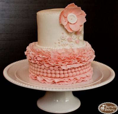 i think I am in love with this cake...it would be pretty in creams and whites for a vintage wedding or just like it is for a baby girls birthday..awwww!
