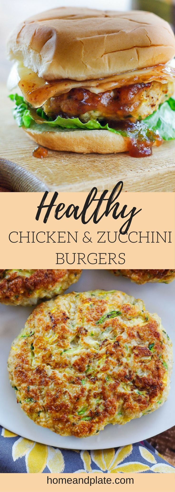 Healthy Chicken & Zucchini Burgers | Loaded with shredded zucchini and squash, these healthy chicken burgers are full of flavor and juicy. | www.homeandplate.com
