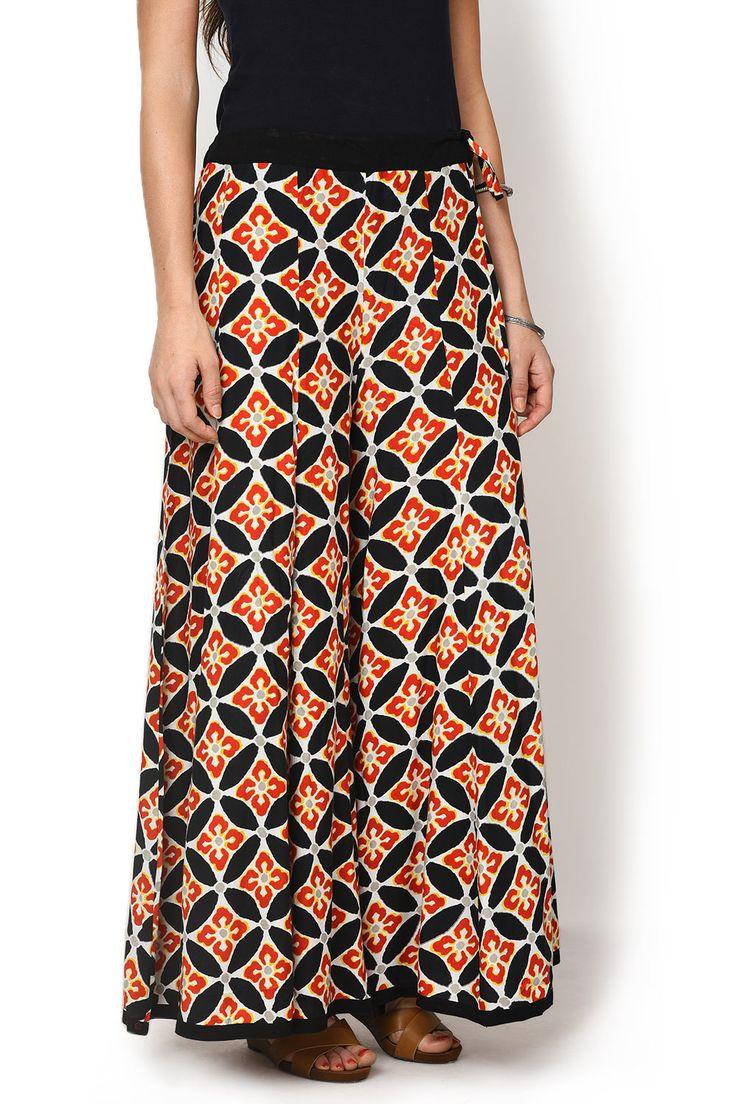 Black Printed Divided Skirt - Divided Skirts - Indo-Western - Lakshita