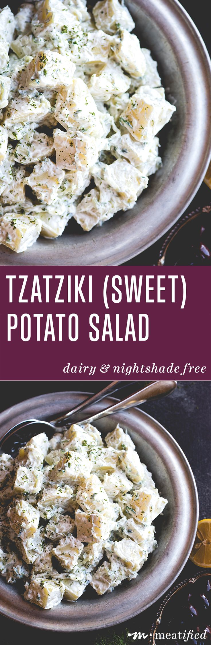 Cool and creamy tzatziki meets white sweet potatoes to make this simple, summery & nightshade free tzatziki potato salad from http://meatified.com. It's the perfect side for grilling!
