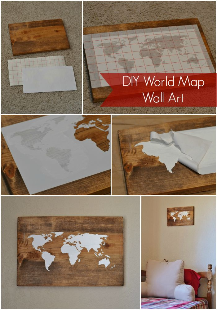 DIY World Map Wall Art Tutorial.  Could do this and then fill in names of places or outlines as we visit them!
