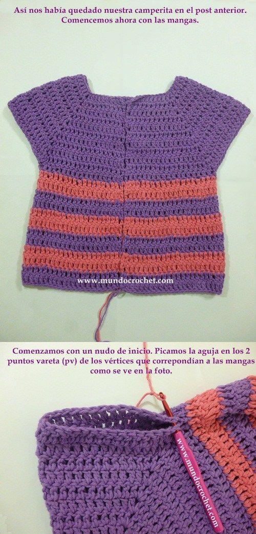 Como tejer un saco, campera, cardigan o chambrita a crochet o ganchillo desde el canesu25