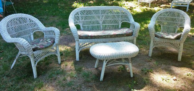 cute vintage 4 piece wicker patio furniture set