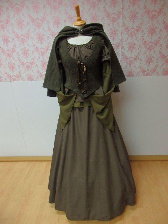 middeleeuwse jurk / middeleeuws kostuum / Keltische jurk / fantasy jurk / larp kleding / pagan bruiloft jurk / dickens kleding / elf jurk lotr hout