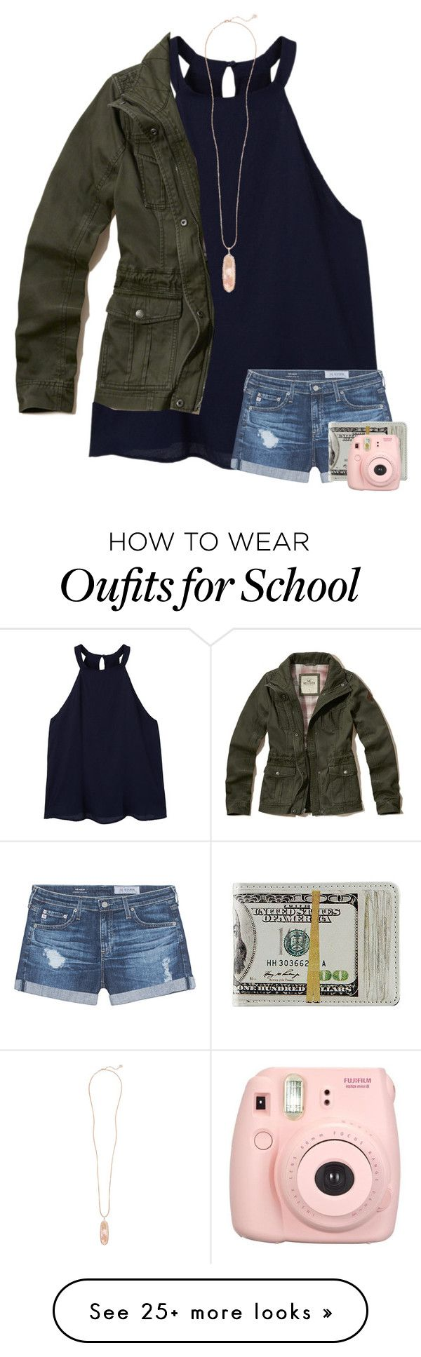 """""""School outfit"""" by mxsic-galaxy on Polyvore featuring MANGO, AG Adriano Goldschmied, Kendra Scott, Hollister Co. and Fujifilm"""