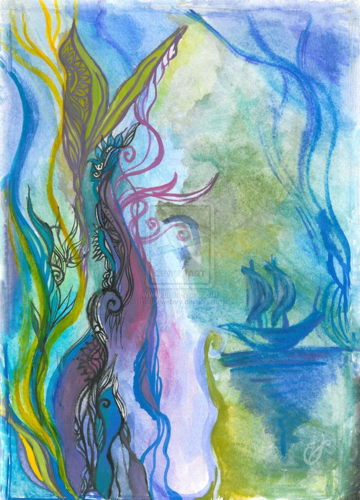 Magical seaweed by Tuile-jewellery.deviantart.com on @DeviantArt  Sailing on the sea of dreams Traditional watercolor painting (paper)