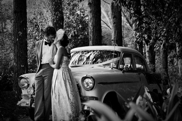 Vintage wedding car. Quirky Country Wedding in the Hinterland | The Bride's Tree - Sunshine Coast Wedding