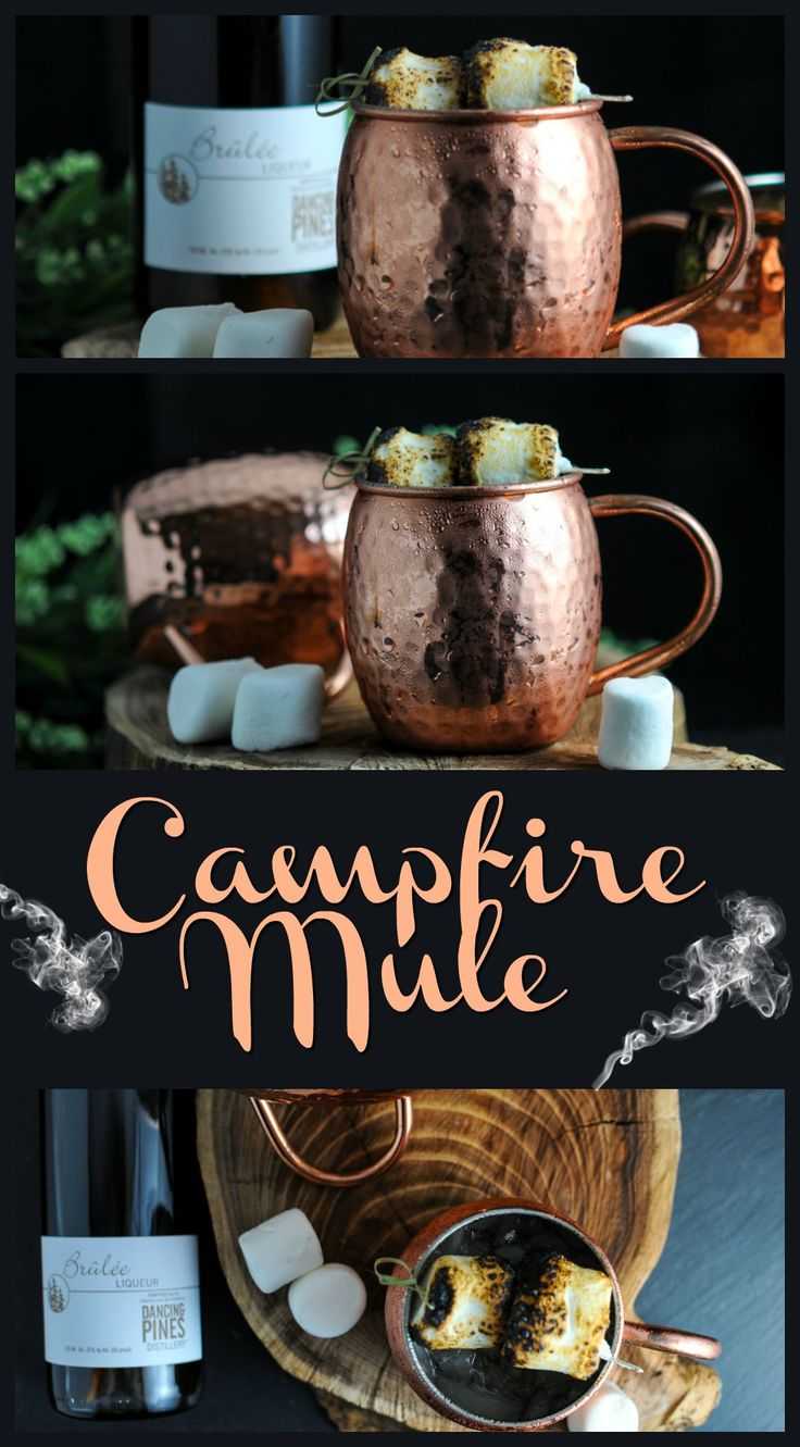 Campfire Moscow Mule - vodka, creme brulee liquor, lime juice, ginger beer, toasted marshmallows! cocktail, drink, recipe,