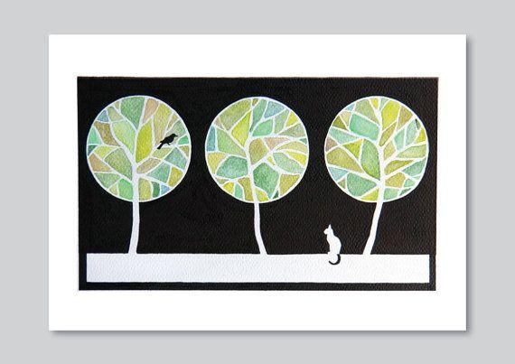 Ağaç giclee baskı suluboya resim manzara yeşil kedi illüstrasyon, sanat dekor duvar duvar VApinx tarafından asılı