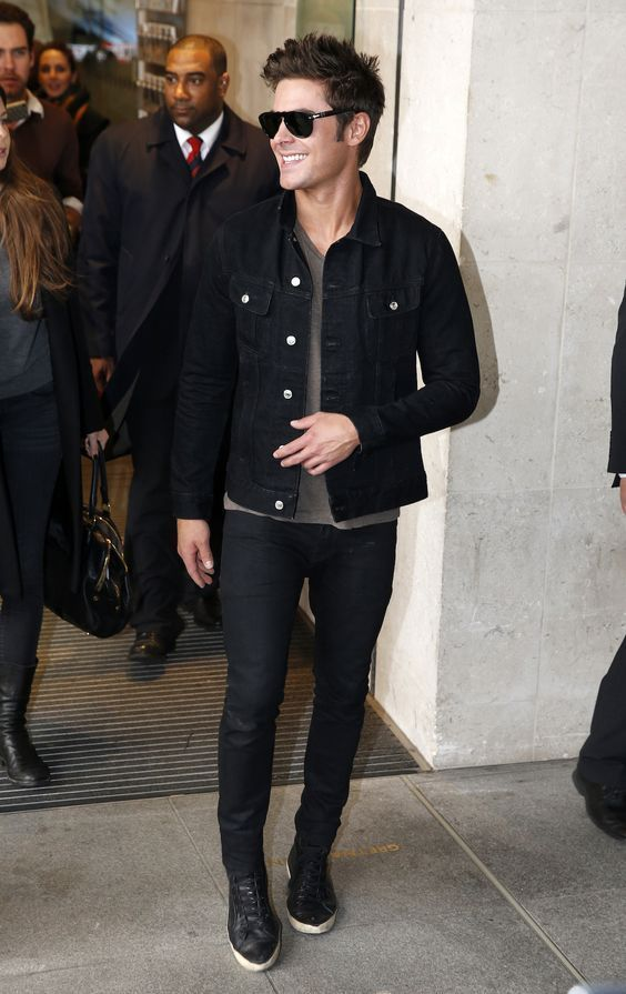 Black Denim Jacket styled Grey Tee, Black Denim Jeans and one can complete this look by Black Sneakers