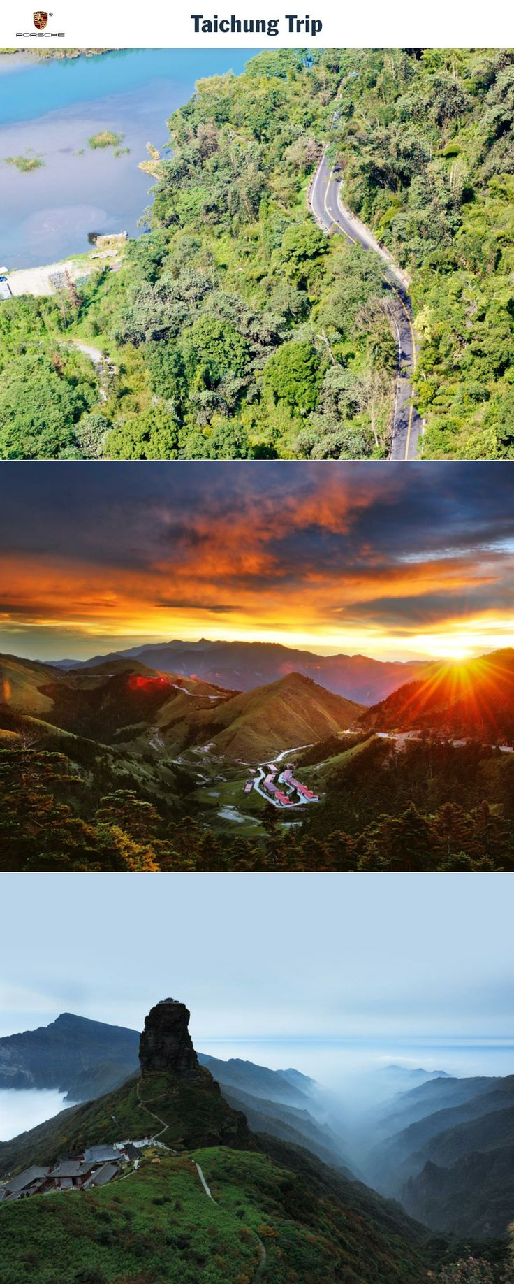 Taichung Trip, Taiwan. From the metropolis to the summit and back again. Route: Taichung - Sun Moon Lake - Hehuanshan Mountain - Taichung. Driving time: Approx. 6.5 hours. Distance: Approx. 275 km (171 miles). Recommended travel time: March - May and September - November.   Learn more: http://link.porsche.com/gts/taiwan