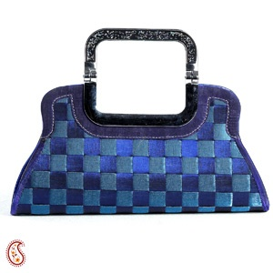 Blue & Grey Checked Design Faux Suede Basket Bag. Shop Now : http://www.tajonline.com/gifts-to-india/gifts-AR5015.html?aff=pintrest2013/
