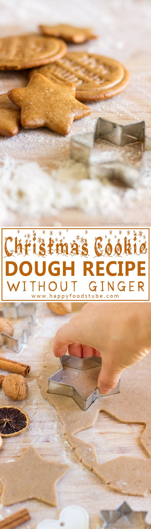 Best Christmas Cookie Dough Recipe without Ginger. Gingerbread cookies with honey, cinnamon and cloves! Ready in 10 minutes! | happyfoodstube.com
