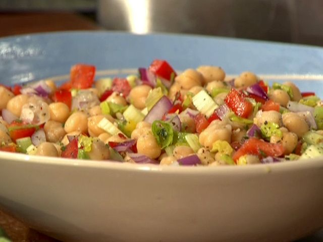 Chickpea Salad from FoodNetwork.com - I had to leave out red pepper and celery and add 1 avocado because it's what was available at the moment... Success! Like it a lot.