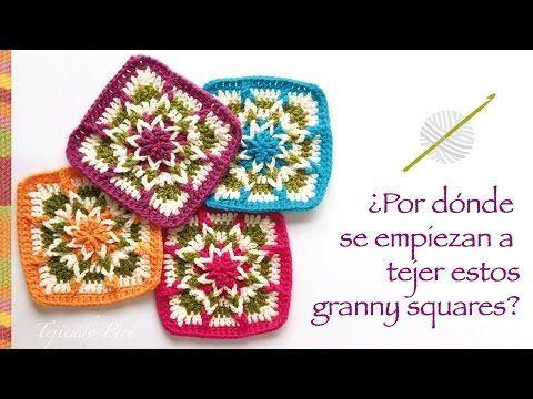 Crochet: ¿por donde se empieza a tejer este cuadrado o granny square? Incluye diagramas ;) - YouTube ༺✿ƬⱤღ✿༻