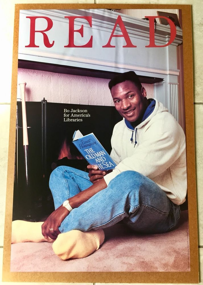 Bo Jackson Library READ Poster Hemingway Old Man & Sea Book 1989 ...