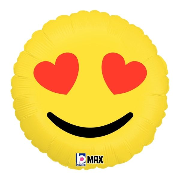 """Heart Emoji Balloon - 18"""" Foil Mylar"""