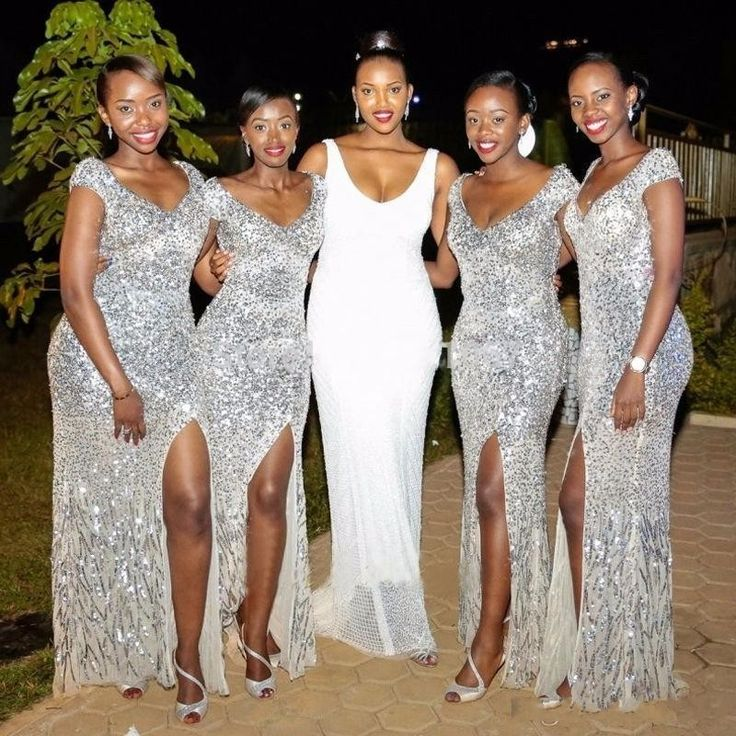 Silver Sequins Bridesmaid Dress, Long Bridesmaid Dresses, African