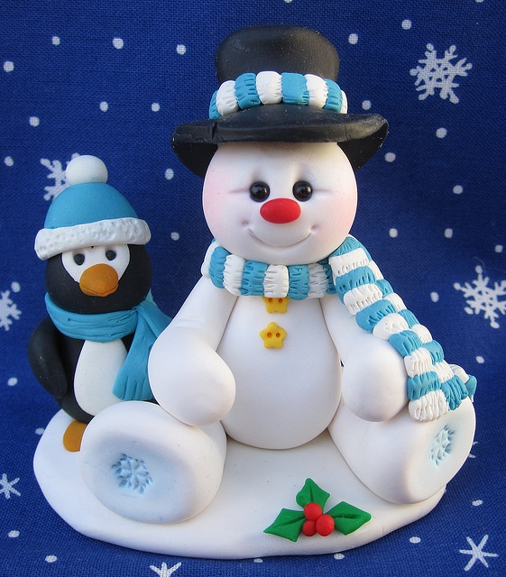 Snowman and penguin fondant toppers