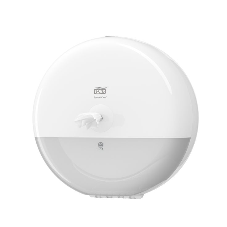 Tork SmartOne® Toilet Roll Dispenser White: The Tork SmartOne® Toilet Roll Dispenser in Elevation Design is a modern efficient dispensing system suitable for demanding washrooms with high traffic. (System: T8; Material: Plastic; Height: 269 mm, Width: 269 mm, Depth: 156 mm; Color: White) Get more information about this product at: http://bimobject.com/en/sca-eu/product/680000/sca-tork-eu