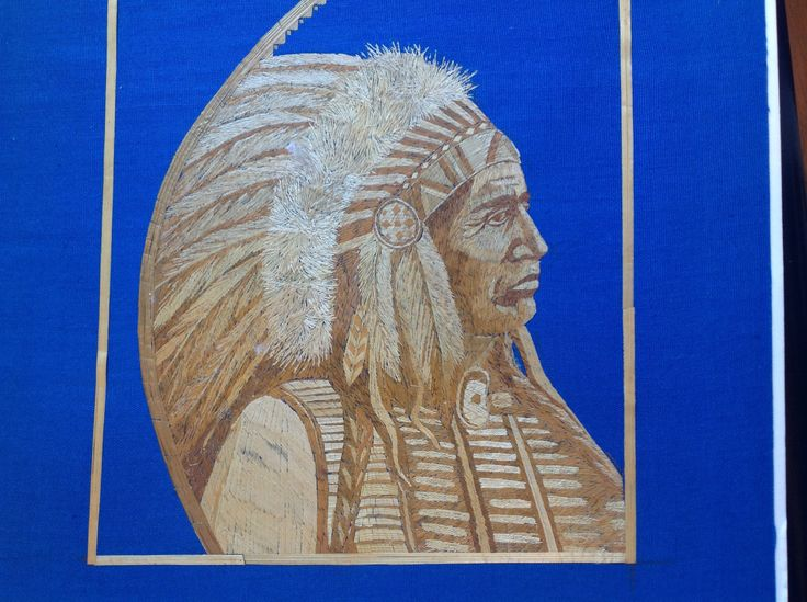 American Indian Chief portrait handmade with dried leaves of rice plant.Only one madeMuseum quality art. American Indian chief collectible a by museumshop on Etsy