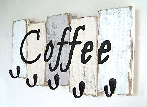 Coffee mug holder - white, antique white, and light gray hand painted and distressed finish