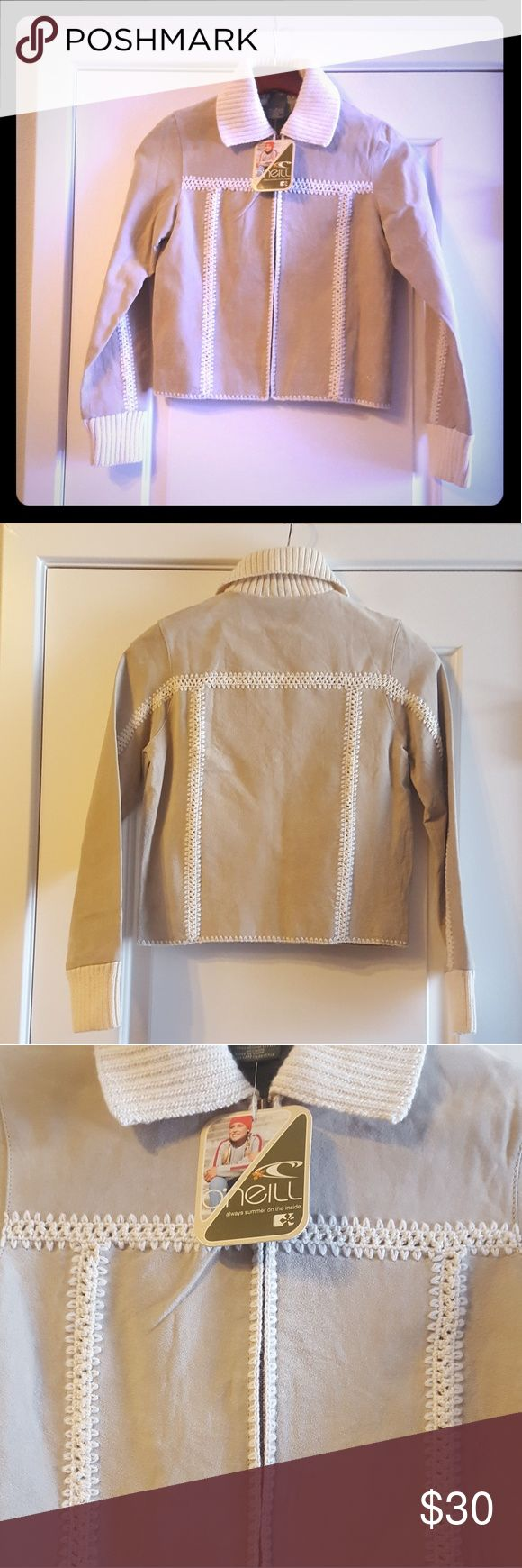 NWT {O'Neill} Leather/ Wool Homespun Bomber Jacket Great bomber jacket for Fall/ Winter! Super cute detail, never been worn. Two very small spots shown in pic 6. Leather/ Wool/ Polyester O'Neill Jackets & Coats