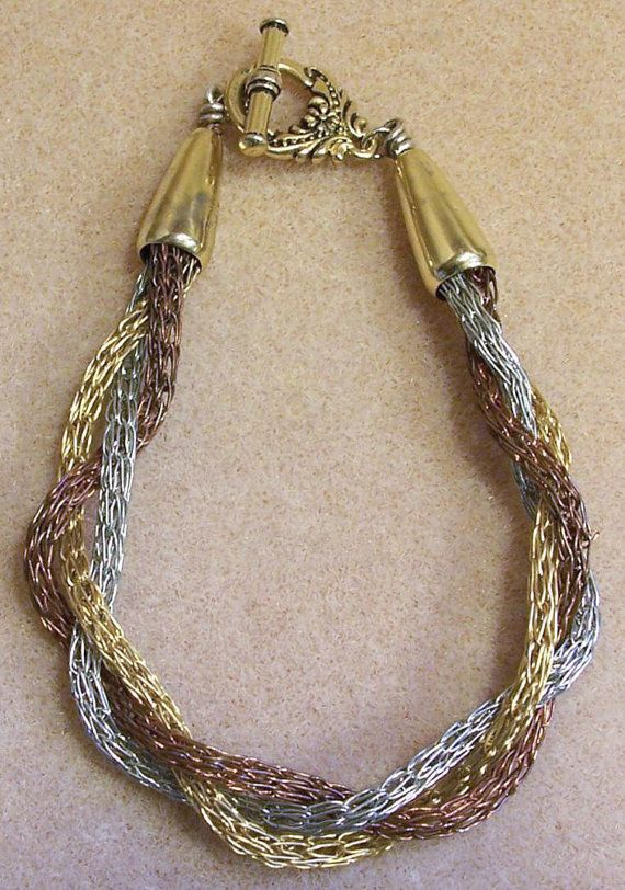 Wire Knotted 3 Tone Braided Chain Bracelet by HandmadeWithSpirit