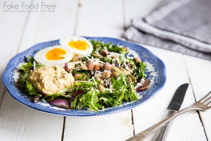 Winter Salad Recipe with Hummus, Smoked Almonds and an 8-minute Egg | Fake Food Free