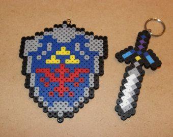 legend of zelda perler bead patterns   Zelda - Hylian Shield AND Master Sword Perler Beads