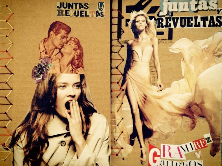 Editorial Cartonera   collage   Portadas para Juntas y Revueltas, poemario de Liz Gallegos y Victoria Ramírez.