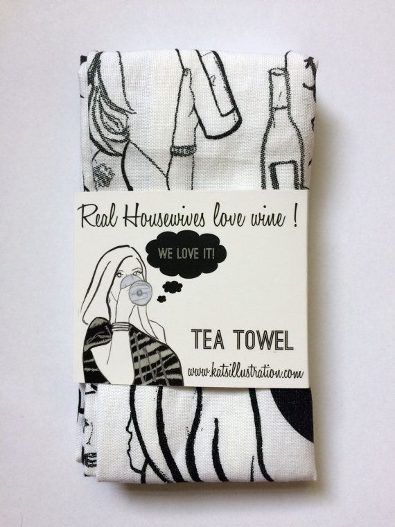 Real Housewives Love Wine Illustrated Kitchen by Katsillustration real housewives new york orange county OC Atlanta Beverly Hills Wine Kitchen Dish Towel