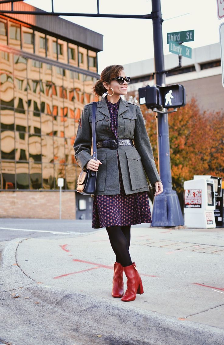 How to style a military jacket for the office.