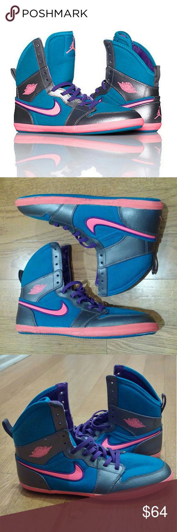 New Nike Jordan 1 skinny high shoes Nike JORDAN High top kids youth boxing style shoes. Size 5Y. (I can fit at a size women 5.5/6 for reference). Color: tropical teal, digital pink, dark grey. Lace up closure. Padded tongue with JORDAN jumpman logo. Signature affiliate NIKE swoosh on sides. Narrow design. New without box, never worn. Jordan Shoes Athletic Shoes