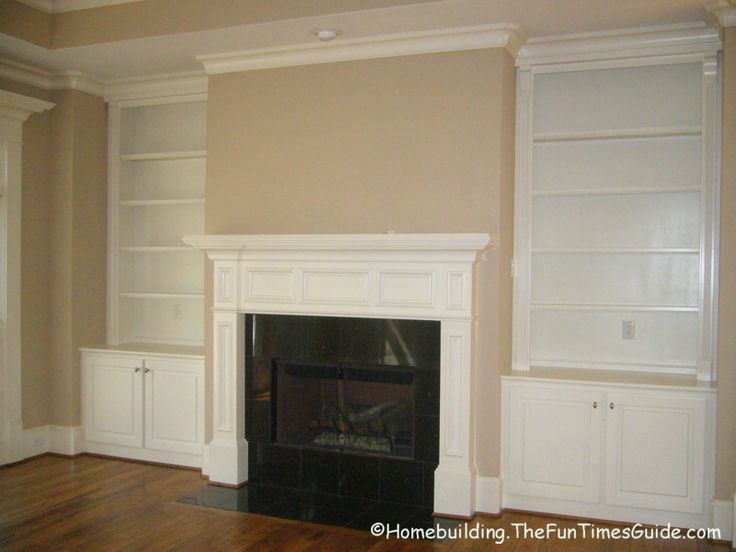 75 best for the home tv fireplace combo images on for Bookcases next to fireplace