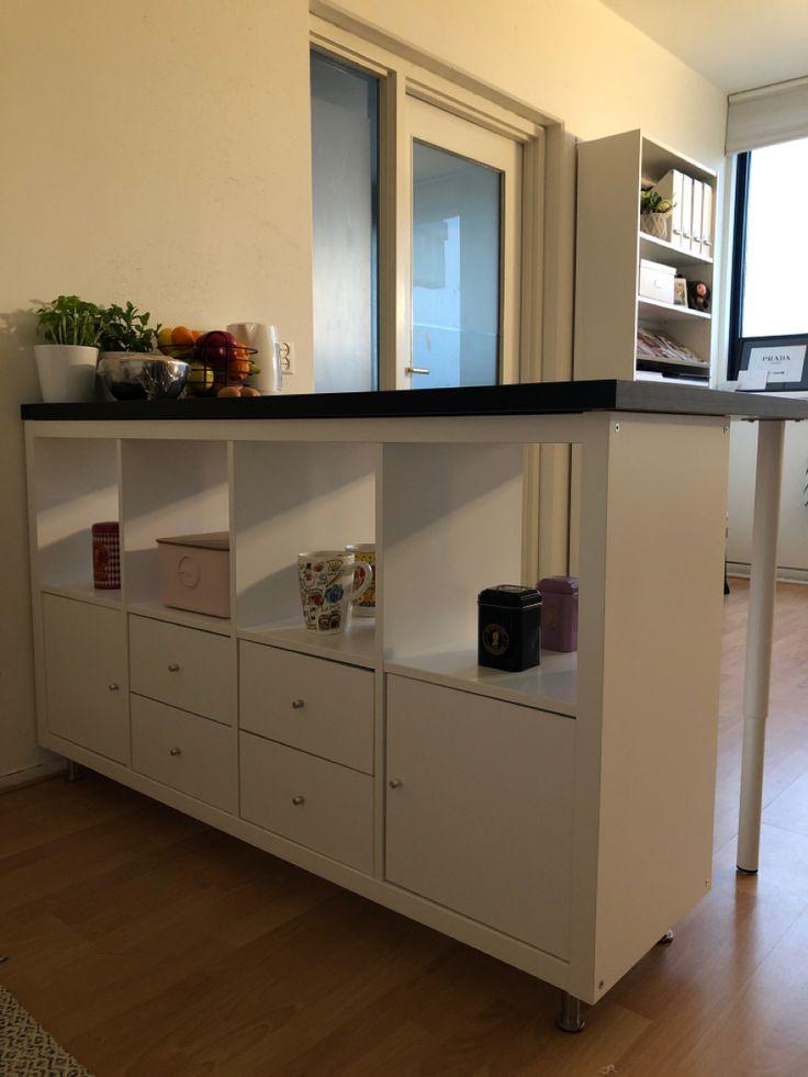 Kallax shelf IKEA with tabletop and legs in 2020 | Ikea ...