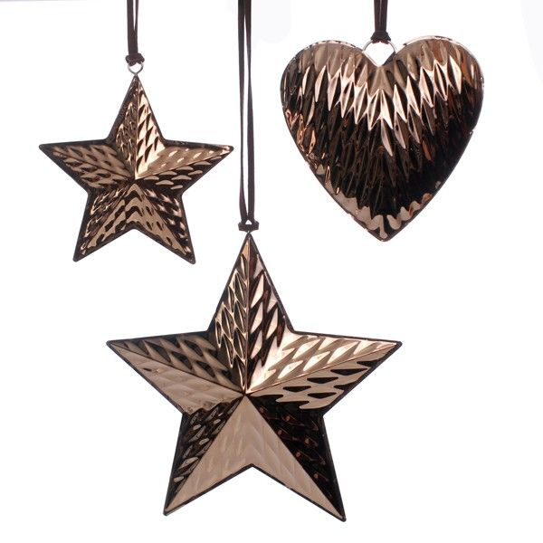 Small and Medium Beaten Copper Star and Beaten Copper Heart