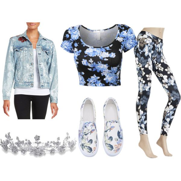 Floral outfit by nshkoukani on Polyvore featuring polyvore, fashion, style, Rialto Jean Project, Hue and Bling Jewelry