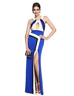TS+Couture+Baile+de+Fim+de+Ano+Evento+Formal+Vestido+-+Ivanka+Estilo+Estilo+Celebridade+Linha+A+Nadador+Longo+Cetim+Fosco+Georgette+com+–+BRL+R$+3.598,69