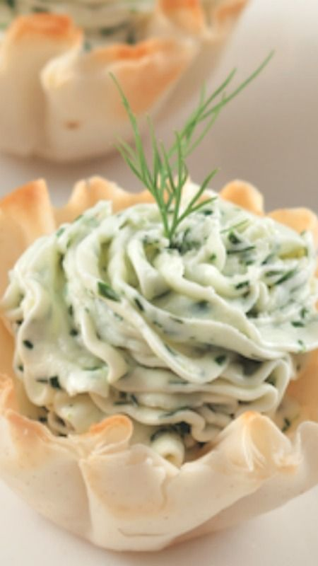 Herbed Goat Cheese Phyllo Cups ~ Light and savory appetizer
