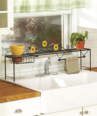 Lovely Sunflower Kitchen Over The Sink Shelf W/ Basket And Towel Rack Space Saver