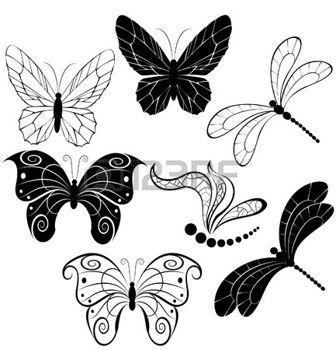 papillon libellule dessin: silhouettes noires des papillons stylisés et libellules sur un fond blanc. Illustration