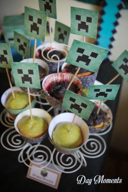 Anniversaire Minecraft » Day Moments cupcakes minecraft