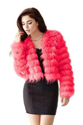 Long-Sleeve Faux-Fur Jacket   GUESS.com