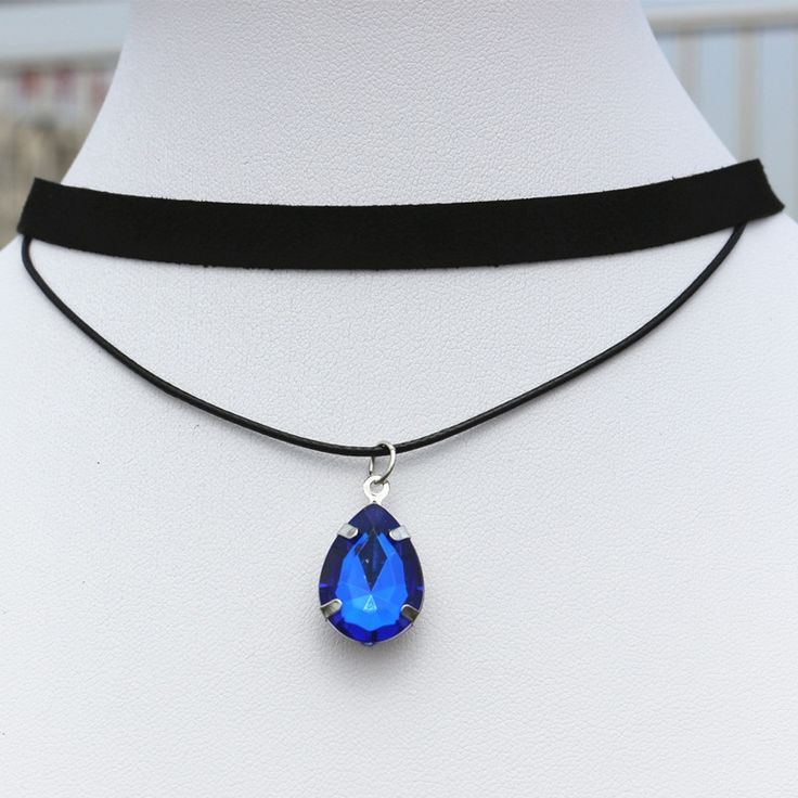 N901 90's Chokers Necklaces For Women Black Velvet Drop Crystal Pendant Double Layer Collares Fashion Jewelry Gothic Bijoux 2017