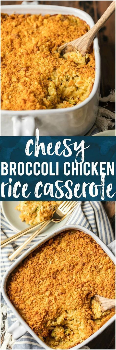 This CHEESY BROCCOLI CHICKEN RICE CASSEROLE is a favorite comfort food recipe. Loaded with everything that makes you think of home, you'll be shocked how easy it is to come together. This is the type of cheesy recipe your family will request time and time again. #casserole #cheese #chicken #comfortfood via @beckygallhardin #chickenfoodrecipes