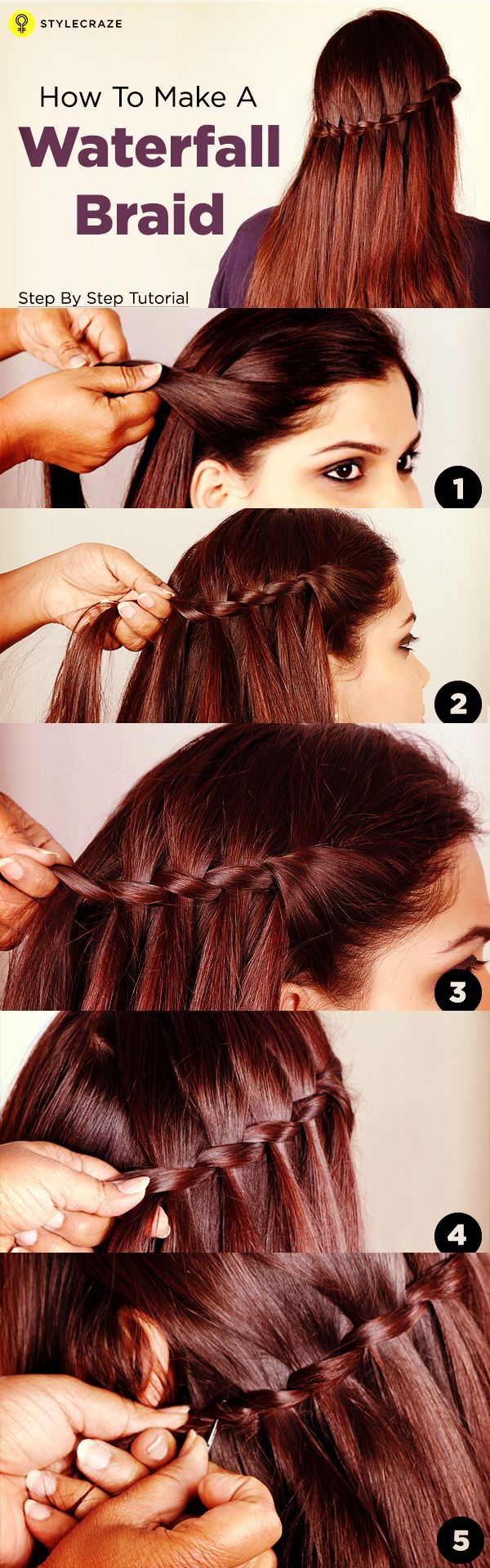 The waterfall braids is one of the most gorgeous hairstyles ever. After stumbling upon this waterfall braids on Pinterest a few days ago,  I decided to recreate this simple but trendy hairstyle. So, let's learn how to make a waterfall braids.  #braids
