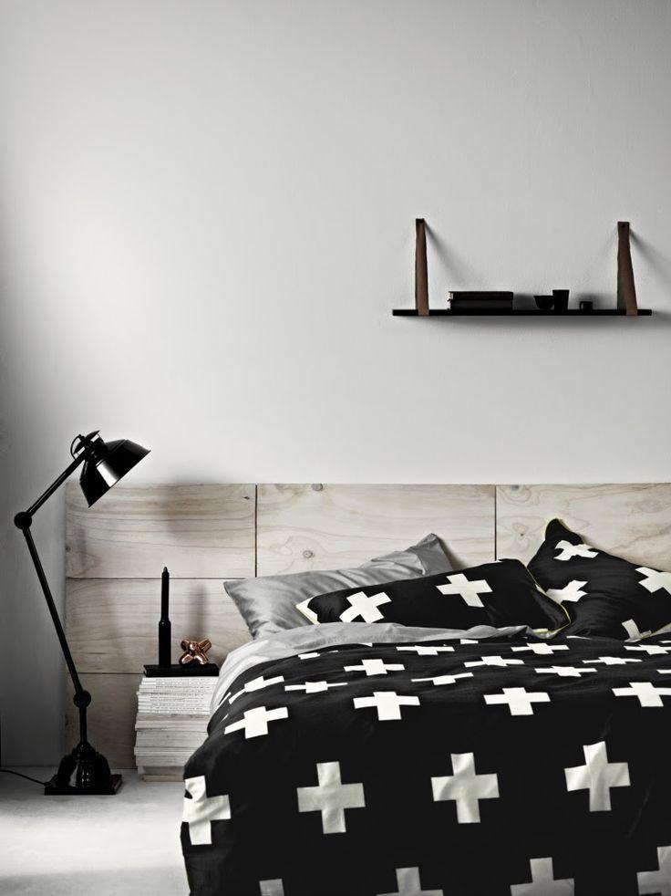 monochrome bedroom, black crosses bedlinen