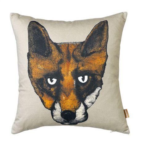 Fox Cushion in Grey by Lisa Bliss | Anthea's Home Store Lisa Bliss's signature fox print also available on a mauve background