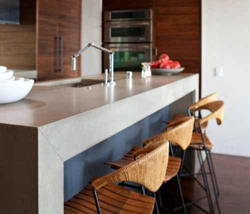 counter stools + thick waterfall island